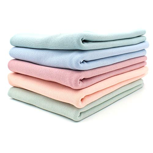 5x 0,25m Bündchenstoff Set Schlauchware 70cm breit 95% Baumwolle, 5% Elasthan Auswahl Jersey (Pastellfarben, 5er Set)