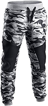 Men Pants Daoroka Men's Casual Camouflage Long Patchwork Jogger Gym Athletic Running Sports Trousers Sweatpants