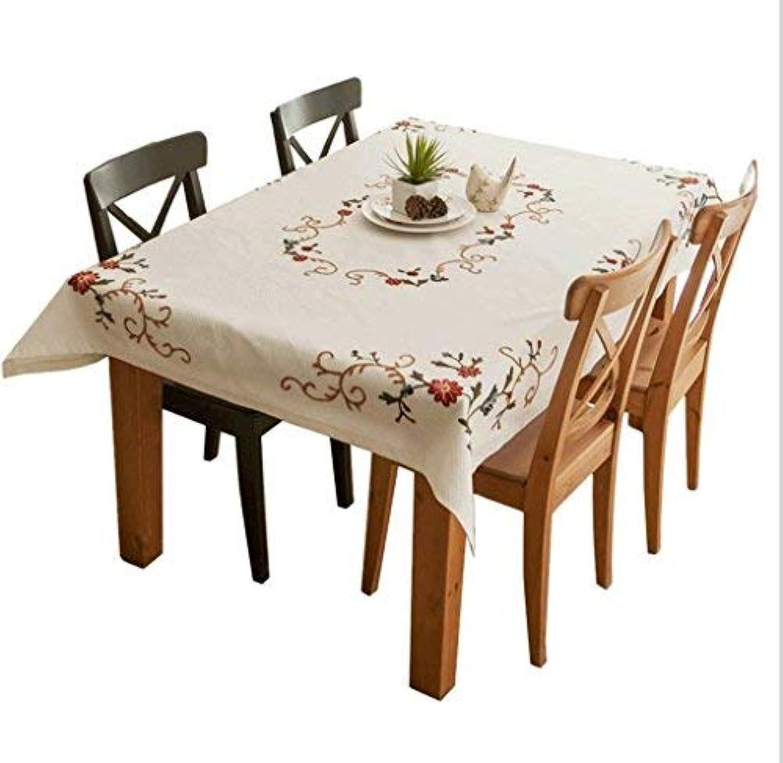 BAIF Qi Pastorale Américaine Nappe en Tissu De Coton Nappe Brodée Table Basse Rectangulaire Table en Tissu Nappe Moderne Minimaliste Et Facile à Nettoyer (Taille  130x130cm)
