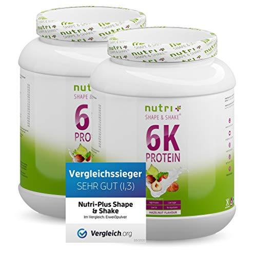PROTEINSHAKE Nuss 2kg - Premiumqualität - hochdosiert - Nutri-Plus Shape & Shake 2000g Eiweißpulver Haselnuss - ideal auch zum Backen und Verfeinern - inkl. Dosierlöffel