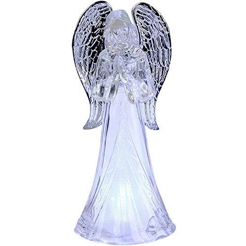 Formano Deko Engel aus Acryl mit LED-Licht, 10x22cm, 1 Stück (Sortiert), weiß, kristallklar