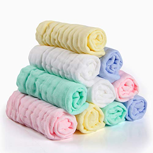 NKKFREY Baby Muslin Washcloths(12x12 inches,10 Pack)-100% Natural Premium Cotton- Soft Newborn Baby Face Towel for Sensitive Skin- Baby Registry as Shower Gift.