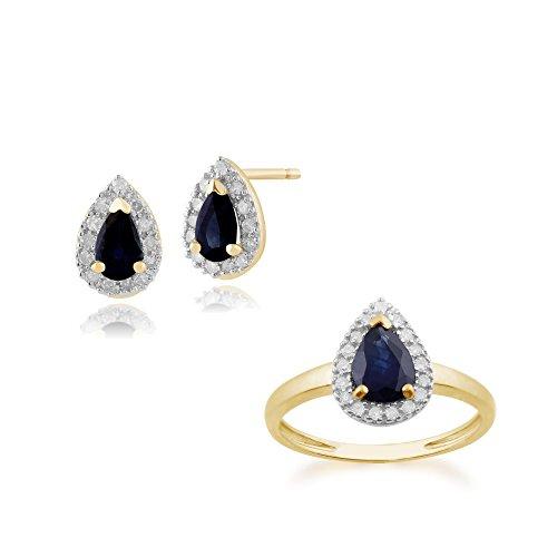 Gemondo in oro giallo 9K con zaffiro e diamanti pera grappolo orecchini e anello set