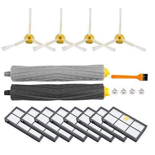 ARyee Kit de repuesto para aspiradora iRobot Roomba 805 860 870 871 880 890 960 980, piezas de repuesto con 1 juego de extractores 8 filtros, 1 cepillo pequeño, 4 cepillos laterales y tornillos