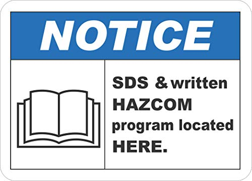 Etiqueta - Seguridad - Advertencia - SDS & HazCom Located Here Sign 177mmx 254mm - Decal for Office - ficina, empresa, escuela, hotel
