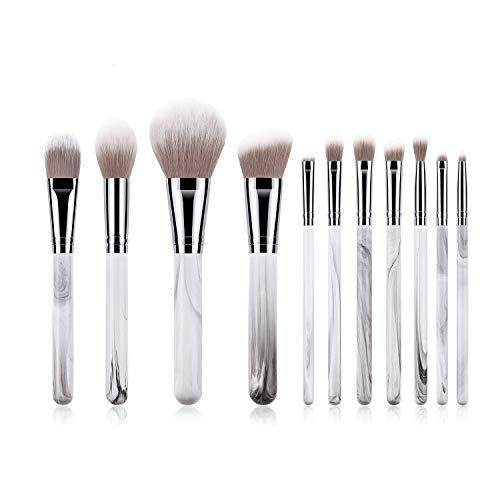 Lot de 11 pinceaux de maquillage à poils souples et moelleux avec manche en bois confortable, blanc