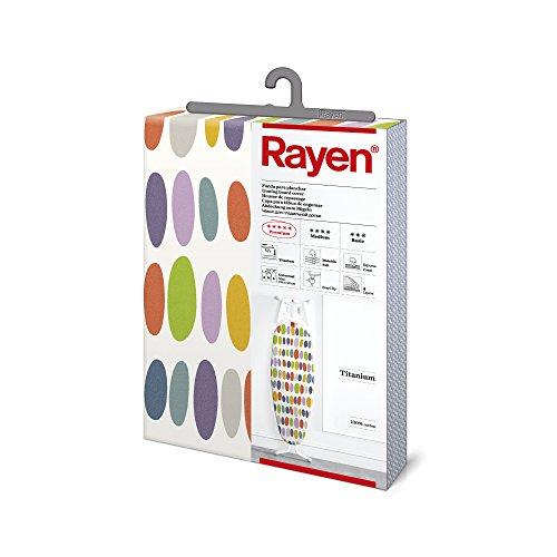 Rayen | Funda para tabla de planchar | Alcolchada y fácil de colocar | Sistema EasyClip | 4 capas: Espuma, Muletón, tejido 100% de Algodón y Titanio | Con recubrimiento de titanio | 130x47 cm