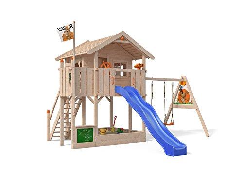 ISIDOR Wonder Wow Spielturm mit Schaukelanbau, XXL Rutsche, Sandkasten, Balkon, Treppe auf 1,50 m Podesthöhe (Blau)