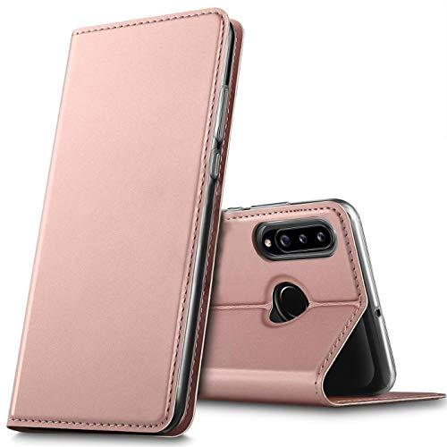 Verco Handyhülle für Samsung Galaxy A20s, Premium Handy Flip Cover für Samsung A20s Hülle [integr. Magnet] Book Hülle PU Leder Tasche, Rosegold