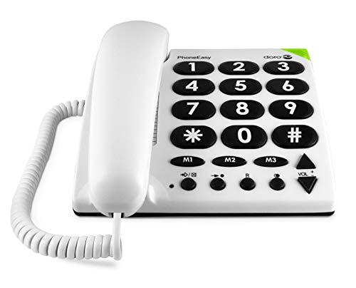 Doro PhoneEasy 311c Téléphone Fixe Filaire pour Seniors avec Grandes Touches, Numérotation Abrégée et Compatible avec Appareils Auditifs [Version Française]