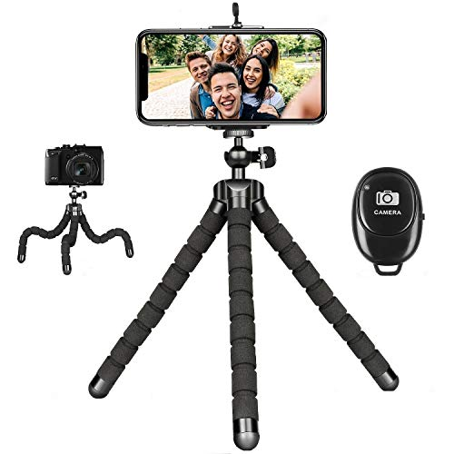 Flexible Phone Tripod with Wireless Remote, Mini Tripod Stand for iPhone 12 Mini 11 Pro XS Max XR X Samsung Android Camera Adjustable iPhone Tripod Stand for Video Recording Vlogging