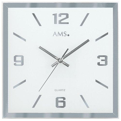 AMS 9324–Reloj de pared de cuarzo, con facetas y bedrucktes Cristal de espejo