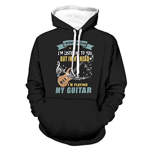 DAMKELLY Store Sudadera con capucha para hombre, diseño de instrumento musical, color blanco, talla 3XL