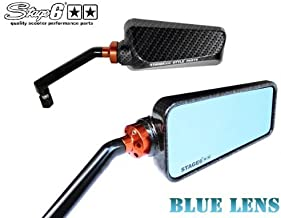 [STAGE6 Genuine] F1 mirror rearview mirror carbon pattern positive screw / reverse screw 8mm / 10mm [blue lens] SG6