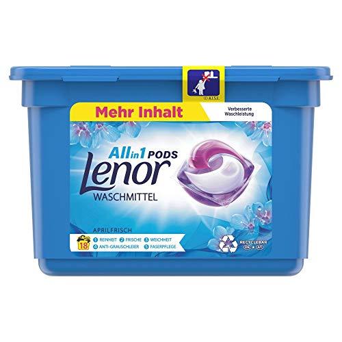 Lenor Waschmittel Pods All-in-1, Lenor Aprilfrisch mit Duft von Frühlingsblumen, 18 Waschladungen