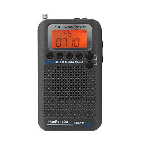 docooler HanRongDa HRD-737 Ricevitore di Banda per aeromobili Radio Banda Larga Portatile FM/AM/SW/CB/Air/VHF World Band con Display LCD sveglia