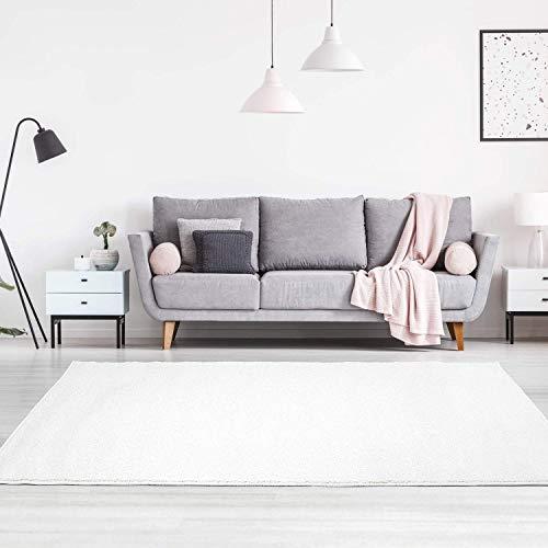carpet city Teppich Einfarbig Uni Flachfor Soft & Shiny in Weiß für Wohnzimmer; Größe: 140x200 cm