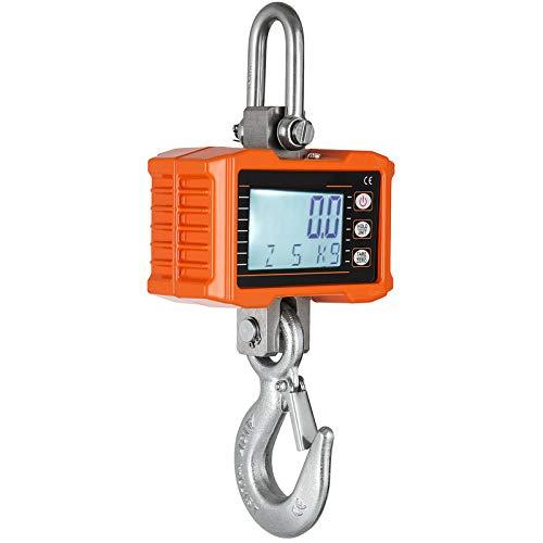 VEVOR Báscula de Grúa 1000KG/ 2200LBS Escala de Grúa Digital Balanza Pesada Industrial con Sensor Preciso con Muelle de Carga para Caza, Granja y Construcción
