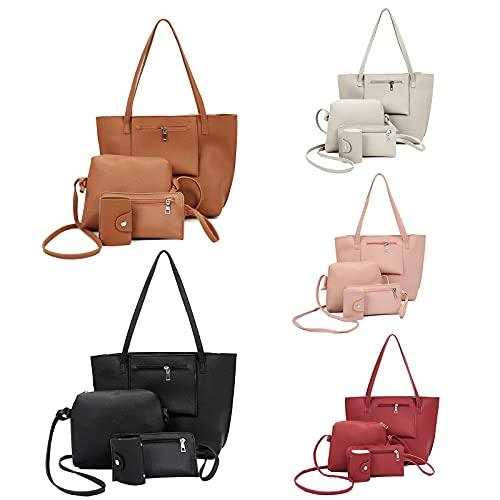OPALLEY Handtasche Set Damen, 2021 Mode Taschen, 4er Set Tote Bag, Leder Henkeltasche, Umhängetasche, Geldbörse, Kartenhalter, Shopping Tasche Geschenk Reise Bags