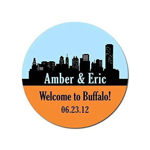 Personalized Customized Wedding Favor Stickers - Buffalo New York Skyline - Choose Your Size