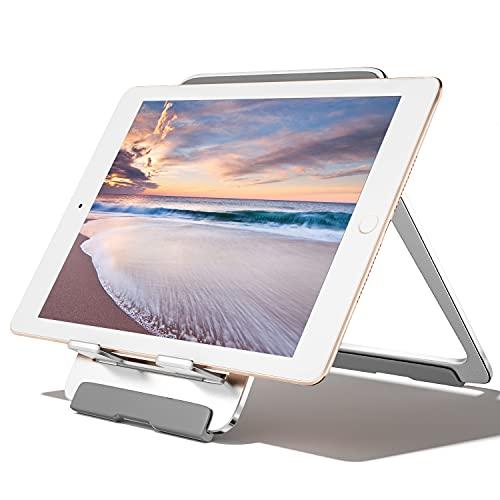 Newaner Tablet Holder Aluminium Support de téléphone portable pliable réglable, table, compatible avec iPad, MediaPad, Galaxy Tab, iPhone, autre tablette 5 '-13', Kindle, Smartphone 4 '- 8', argent