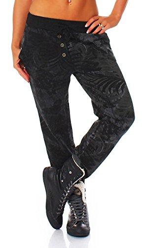 Malito Damen Jogginghose mit Jungle Print | Sporthose mit Muster | Baggy zum Tanzen | Sweatpants - Trainingshose 83728 (schwarz)