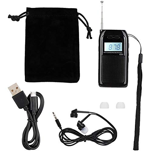 Pomya Mini-UKW-Radio, Pocket-UKW-MW-Radioempfänger Digital-Tuning-Stereo-MP3-Musik-Player LCD-Display-Radio zum Gehen/Laufen.