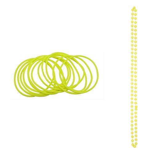Angies Fashion® Neonfarbene Armreifen & Perlen Halskette 1980er Jahre Kostüm Gr. Einheitsgröße, gelb