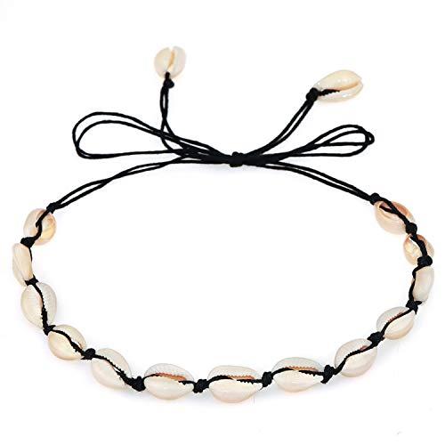Suyi Collar De Conchas Naturales Collar Hecho A Mano De Playa De Hawaii Collar De Concha Ajustable para Mujer BBlack