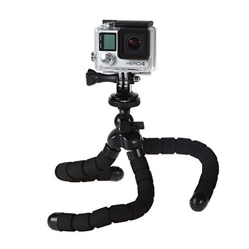 Flexible Stativständer Octopus Action Kamera Halter Kompatibel mit GoPro Hero5 / 4 / 3+ / 3, DVEETECH S2, Apeman A66 / nA80, QUMOX SJ4000, Campark, Bopower,GeekPro EOV1, Vemont, Victure, CAMKONG