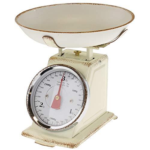 Macosa - SA7972 - Bilancia da cucina rétro con ciotola di pesatura beige, portata fino a 3 kg, design vintage, per cucinare