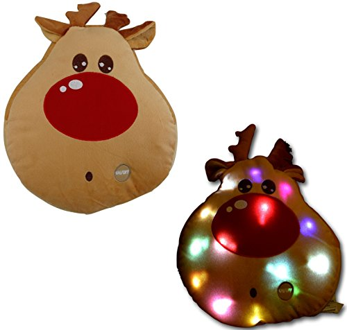 Tache Lightup Reindeer Squishy Pillow Christmas Red Nose Decorative Glowing Cushion with LED Light (Reindeer)