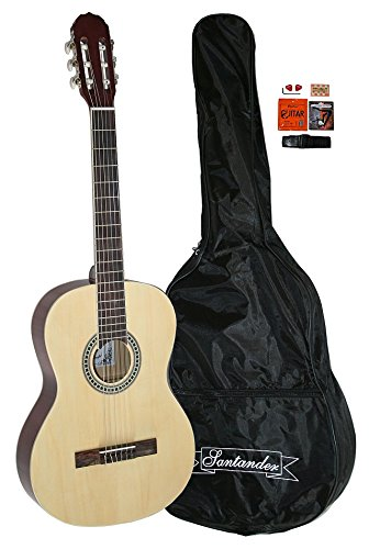 Santander 4/4 Akustik Konzert Gitarre Set mit Tasche Kapodaster Gurt, natur
