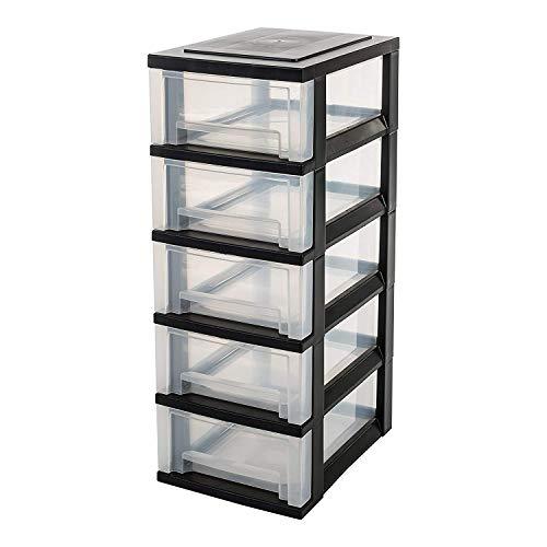 IRIS, Schubladenschrank / Schubladenbox / Rollwagen / Rollcontainer / Werkzeugschrank 'Smart Drawer Chest', SDC-005, mit Rollen, Kunststoff, schwarz / transparent