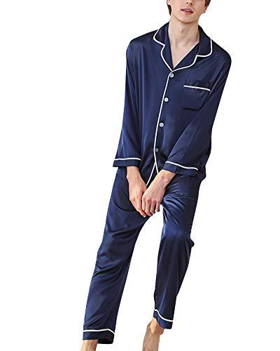 Servicio a Domicilio 2 Piezas Pijamas Hombre Mangas Largas y Pantalones Traje Marina de Guerra XL