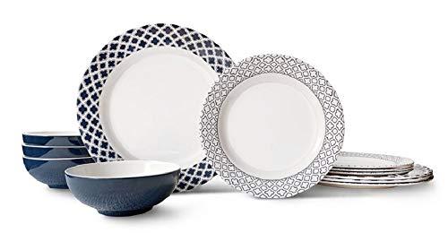 Bowla 12-Piece Melamine Dinnerware Set - Service for 4 (Bluegrass)