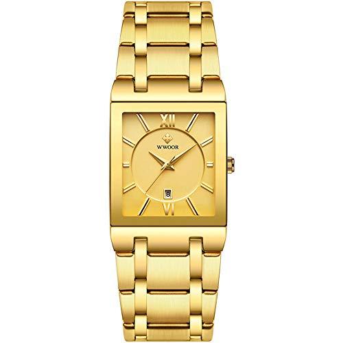 Relojes para Hombre Relojde Pulsera de Cuarzo analógico Cuadrado Dorado primeras Marcas Relojde Pulsera para Hombre Pulsera para Hombre Dorado Resistente al Agua Relojpara Hombre