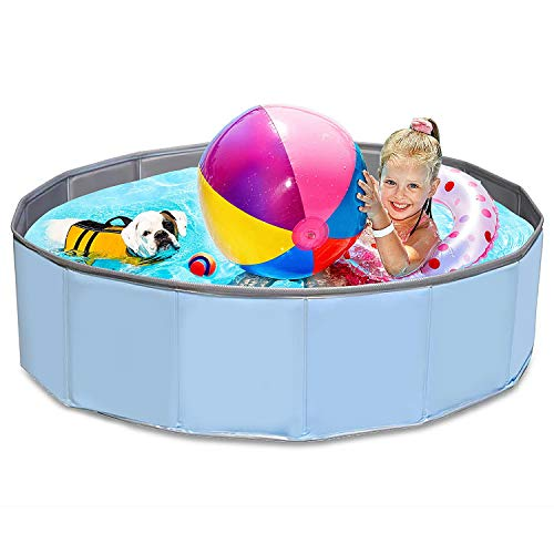 Hundepool mit Ablassventil,Badewanne Swimmingpool Wasserbecken-Faltbare Pools für Kinder Hund Katze Geschenk-Planschbecken 120 x 30 cm