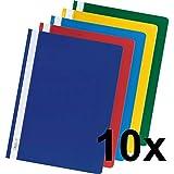 Original Falken 10er Pack Plastik-Schnellhefter. Aus PP-Folie für DIN A4 kaufmännische Heftung farbig sortiert Hefter ideal für Büro und Schule