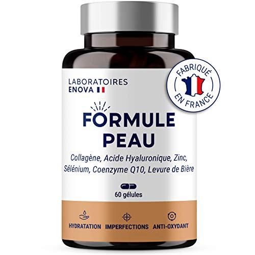 FORMULE PEAU | Collagene Marin, Acide Hyaluronique, Coenzyme Q10, Zinc, Selenium, Levure de Biere | Antioxydant, Hydratation, Imperfection | Complement Alimentaire Peau | 30 jours | Fabriqué en France