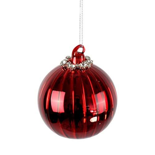 Voss - Bola de Cristal Tiffany, Color Rojo con Colgador, Cristal, 8 cm