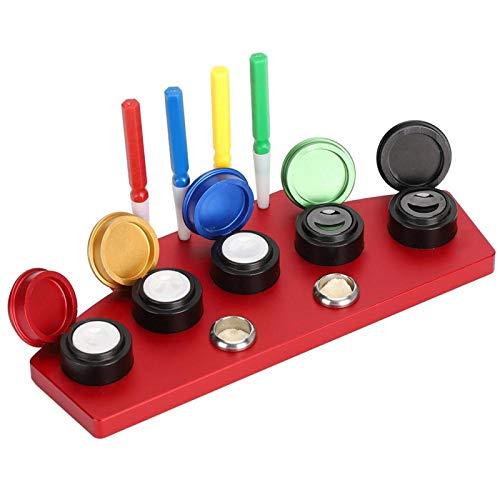 Engrasador de reloj de metal, herramienta de inmersión de aceite de reloj,para relojeros, engrasador de reparación de bolígrafos, para aplicar lubricantes(Oil dish-4 bolígrafos de aceite)