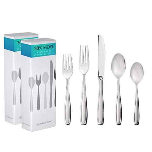 Radley & Stowe 40-Piece (8-Set) Flatware Solid Stainless Steel Silverware Set (Designer Grade with...