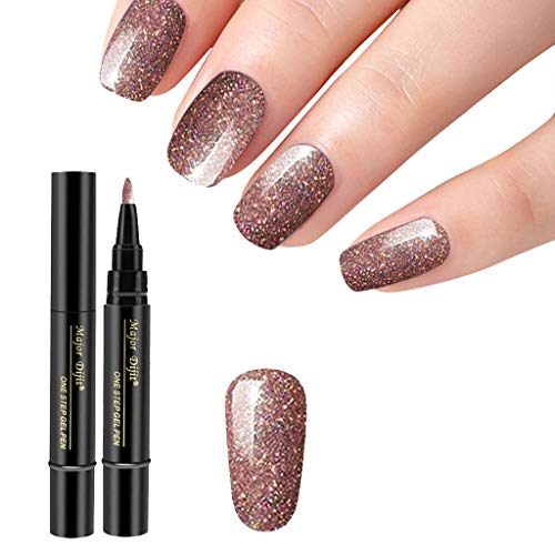 PIKAqiu33 1 Pc 3 in 1 Step Nail Gel Painting Varnish Pen One Step Nail to Use UV Gel 5ML, Nail Art, for Christmas New Year