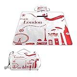 XINGAKA Manta de Picnic Impermeable,Lindo Set de Viaje de Londres,Alfombra Plegable para Camping Parque