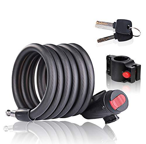 Cerradura de Bicicleta Antirrobo Montaje Flexible,Candado de Cable en Espiral para Bicicleta,Bicicleta Mejor antirrobo seguridad Bloqueo,Bicicleta al Aire Candado Cadena,Candado de Cable