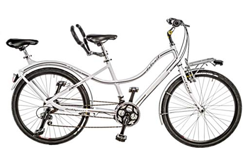 CICLI PUZONE Bici BIBICI Misura 26 Tandem Passeggio 21V Art. TANDEM26 (Bianco)