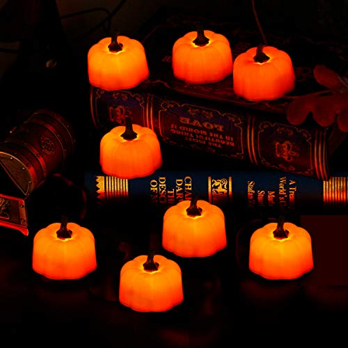Fulighture LED Electric Flameless Pumpkin Candle Lights, Realistic and Bright, Battery Included, Yellow, for Indoor Home Lighting Outdoor Decor Party Halloween, Pack of 12