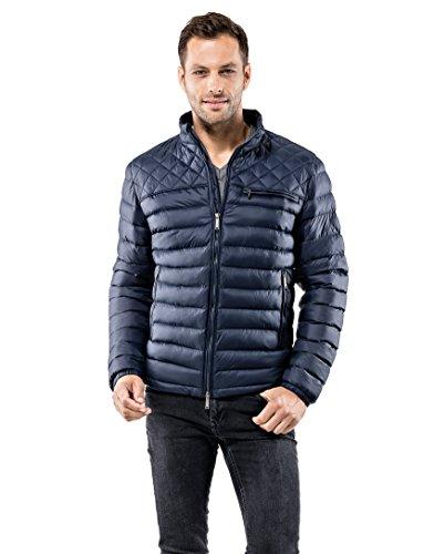 Vincenzo Boretti Herren Steppjacke Slim-fit tailliert Übergangs-Jacke leicht dünn weich warm gefüttert für Frühling Herbst modern elegant - EIN Style für Business und Freizeit dunkelblau S