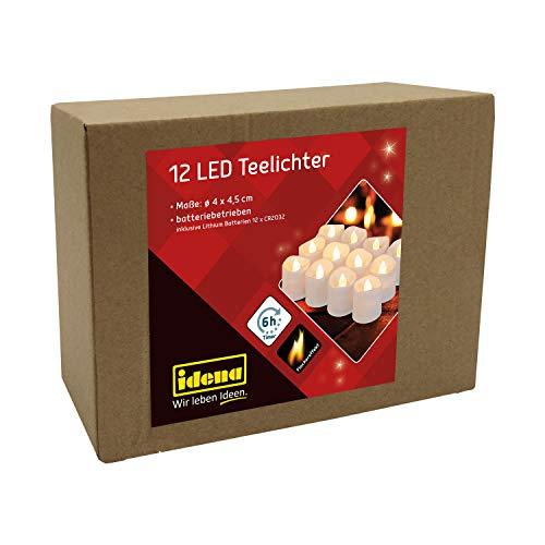 Idena 30469 - LED Teelichter, 12 Stück, elektrische Kerzen mit flackerndem Licht, inklusive Batterien, 6 Stunden Timer Funktion, Höhe ca. 4,5 cm, Deko für Hochzeit, Party, als Stimmungslicht